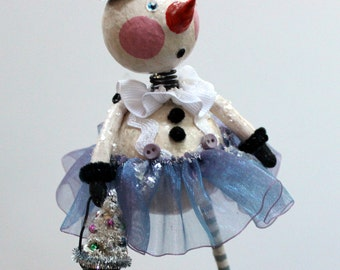 Christmas SnowMan Whimsical Folk Art Doll Collectible Holiday Decoration