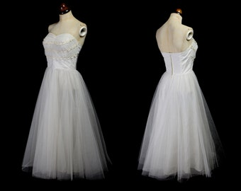Original Vintage 1950s Ivory Tulle Prom Dress - Small - FREE SHIPPING WORLDWIDE