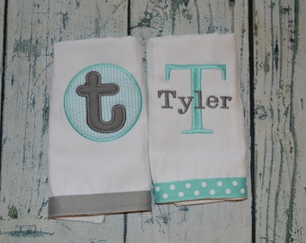 Personalized  Burp Cloth Set of 2 Burpies MONOGRAM