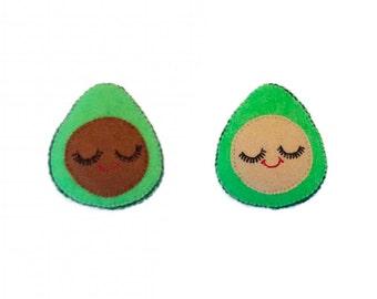 Avocado Brooch - Kawaii Food Pin - Guacamole Lover Pin - Avocado Pin - Novelty Brooch - Cute Food