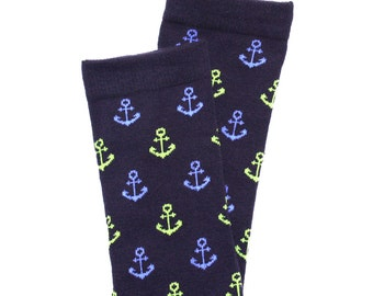 Navy Anchors Baby Toddler Leg Warmers