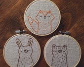 embroidered woodland animal portraits, woodland nursery decor, embroidered animals, fox embroidery