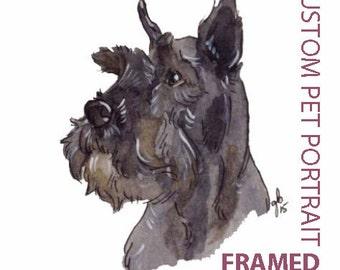 framed, FREE SHIPING, Custom Pet Portrait, Art Commission, Custom Portrait, OOAK