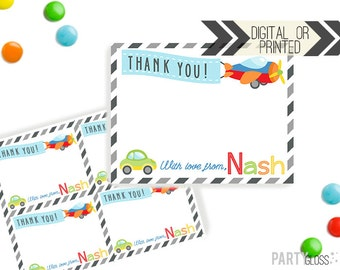 Planes Trains Automobiles Thank You Card | Planes Trains Thank You | Digital or Printed | Airplane Party | Car Thank You | Transportation