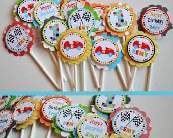 Race Car Birthday Party Cupcake Toppers Fully Assembled Decorations