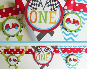 Race Car Birthday Party High Chair Banner Fully Assembled Decorations | Race Car Party | Racing Party | Roadster Party | Vintage Hot Rod |