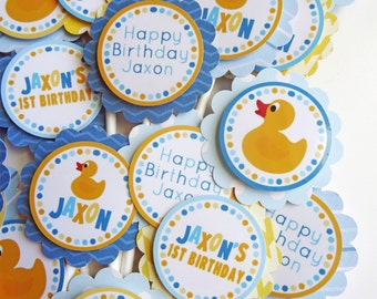 Rubber Ducky Birthday Party Cupcake Toppers Fully Assembled Decorations