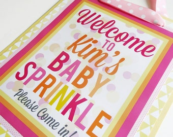 Baby Shower & Baby Sprinkle Door Sign Decorations 'Sprinkled with Love' Fully Assembled