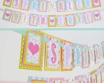 Sprinkled With Love Baby Shower Banner Decorations Fully Assembled