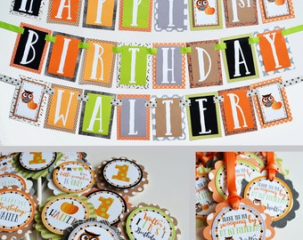 Owl and Pumpkin Birthday Party Decorations Package Fully Assembled