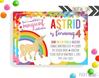 Unicorn Birthday Invitation | Digital or Printed | Gold Glitter Unicorn Invitation | Unicorn Invitation |  Unicorn Invite | Unicorn Theme
