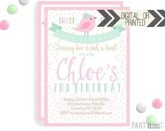 Bird Birthday Invitation | Digital or Printed | Bird Invitation |  Pink Mint Gold Invitation | Little Tweetie Birthday | Birdie Decorations