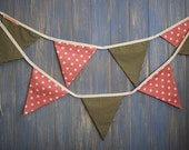 Classic Bunting. This is a gorgeous spotty 3m strand of bunting in vintage pink and olive green.