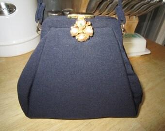Magid Navy Blue Wrist Handbag Kiss Lock Clasp