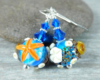 Nautical Earrings, Aqua Blue Beach Earrings, Seashell Earrings, Starfish Earrings, Lampwork Earrings, Ocean Earrings, Beach Jewelry Vacation