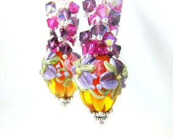 Floral Pumpkin Earrings, Fall Earrings, Halloween Earrings, Pink Purple Crystal Dangle Earrings, Orange Lampwork Glass Earrings Thanksgiving