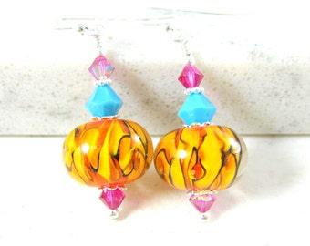 Orange Blue Pink Glass Dangle Earrings,  Lampwork Earrings, Colorful Earrings. Fun Earrings Bright Color Jewelry Drop Earrings, Gift for Her
