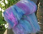 Mermaid Dream Batt--Wet or Needle Felting or Hand Spinning--2 Ounce--Plant Dyed Domestic Wool
