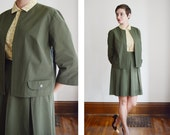 1950s/1960s Olive Green Skirt and Jacket Suit - M