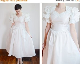 SUMMER SALE As Is Late 1940s Wedding Dress with Puff Sleeves - XS/S