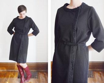 1960s Warm Black Knit Dress - L