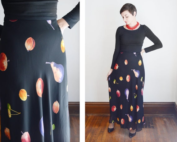 1990s Black Fruit Skirt - S