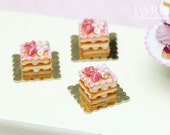 Square Pink Millefeuille Cream-Filled Sablé Individual Pastry - Tiny Miniature Food in 12th Scale for Dollhouse
