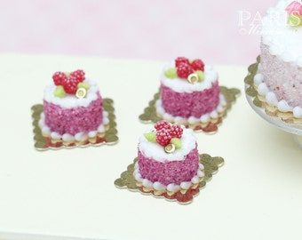 Raspberry Individual Pastry - Génoise Cake - Tiny Miniature Food in 12th Scale for Dollhouse