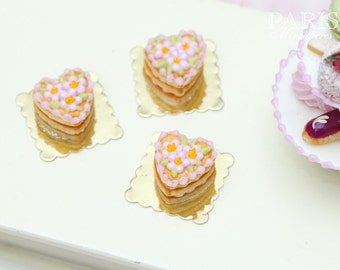 Heartshaped Pink Millefeuille Cream-Filled Sablé - Individual Pastry - Tiny Miniature Food in 12th Scale for Dollhouse