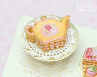 Teapot Shaped Millefeuille Cream-Filled Sablé decorated with Pink Blossoms - Tiny Miniature Food in 12th Scale for Dollhouse