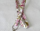 Purple White Lanyard / Floral Lanyard / Key Lanyard / ID Badge Holder / Flowers Keychain Lanyard  / Teacher Lanyard / Pretty Lanyard