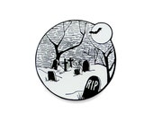 Halloween graveyard glow in the dark enamel lapel pin