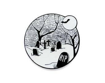 Halloween graveyard glow in the dark enamel lapel pin