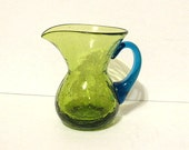 Vintage Blown Crackle Glass Creamer Green with Aqua Blue Handle, Small Pitcher