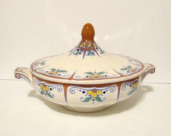 Vintage Covered Casserole Keramis Astrid Floral Made in Belgium No Damage