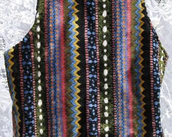 SOFT Sonny Cher Era Hippie Folk Rock BOHEMIAN Sweater Vest, vintage 1960s 60s Folk Rock sweater vest