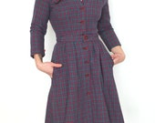 French vintage tartan plaid checked schoolgirl dress with 3/4 sleeves - small S