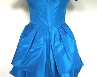 French vintage 1950s/1960s bright blue satin tulip dress - small medium S M