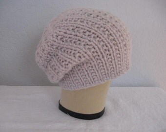 Angora and Merino Wool Slouchy. Hand Knit Beanie or Watch Cap in Oyster. Fall and Winter Accessories.