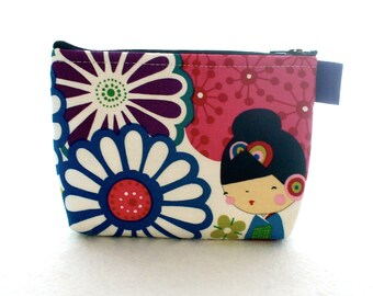 Kaori Kokeshi Dolls Cosmetic Bag Fabric Zipper Pouch Makeup Bag Alexander Henry Fabric Gadget Pouch Japanese Bright Purple Pink Lime