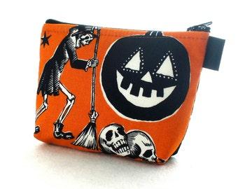 Crafty Calaveras Halloween Fabric Cosmetic Bag Gadget Bag Makeup Bag Zip Pouch Alexander Henry Skeleton Skulls Pumpkin Orange Black