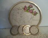 Wisconsin State Tray with Coaster Set ~ Vintage Souvenir ~ Violets