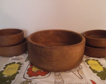 5 pc Wooden Bowl Set ~ Vintage Teak HIMARK ~ Mid Century Danish Modern