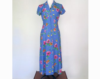 FULL BLOOM // 90s does 40s floral day dress / M L