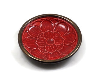 Lotus Offering Bowl in Red  Handmade Pottery
