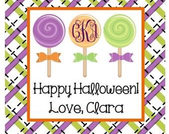 Halloween Plaid Lollipops Sticker, Gift Tag or Address Label - Set of 24