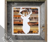 LARGE rustic deer head framed art- made from recycled magazines, deer, modern, silhouette,hunting, colorful, recycled, brown, wood, wall art