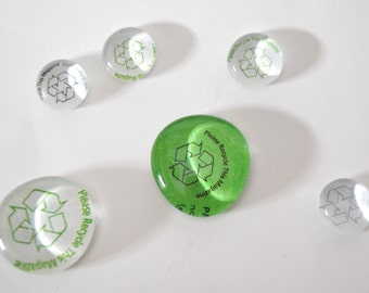 recycle symbol magnet or push pin set - made from recycled magazines, stocking stuffer, green, locker magnets, teacher gifts