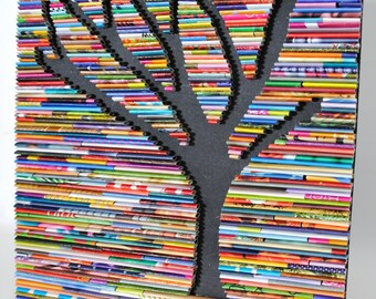 Bright and colorful TREE wall art-made from recycled magazines, colorful, nature, forest, bright, bold, statement piece, modern