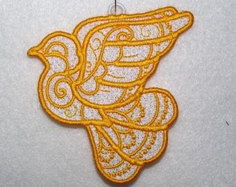 Machine Embroidery Design-FSL-Dove Ornament for 4x4 Hoop.